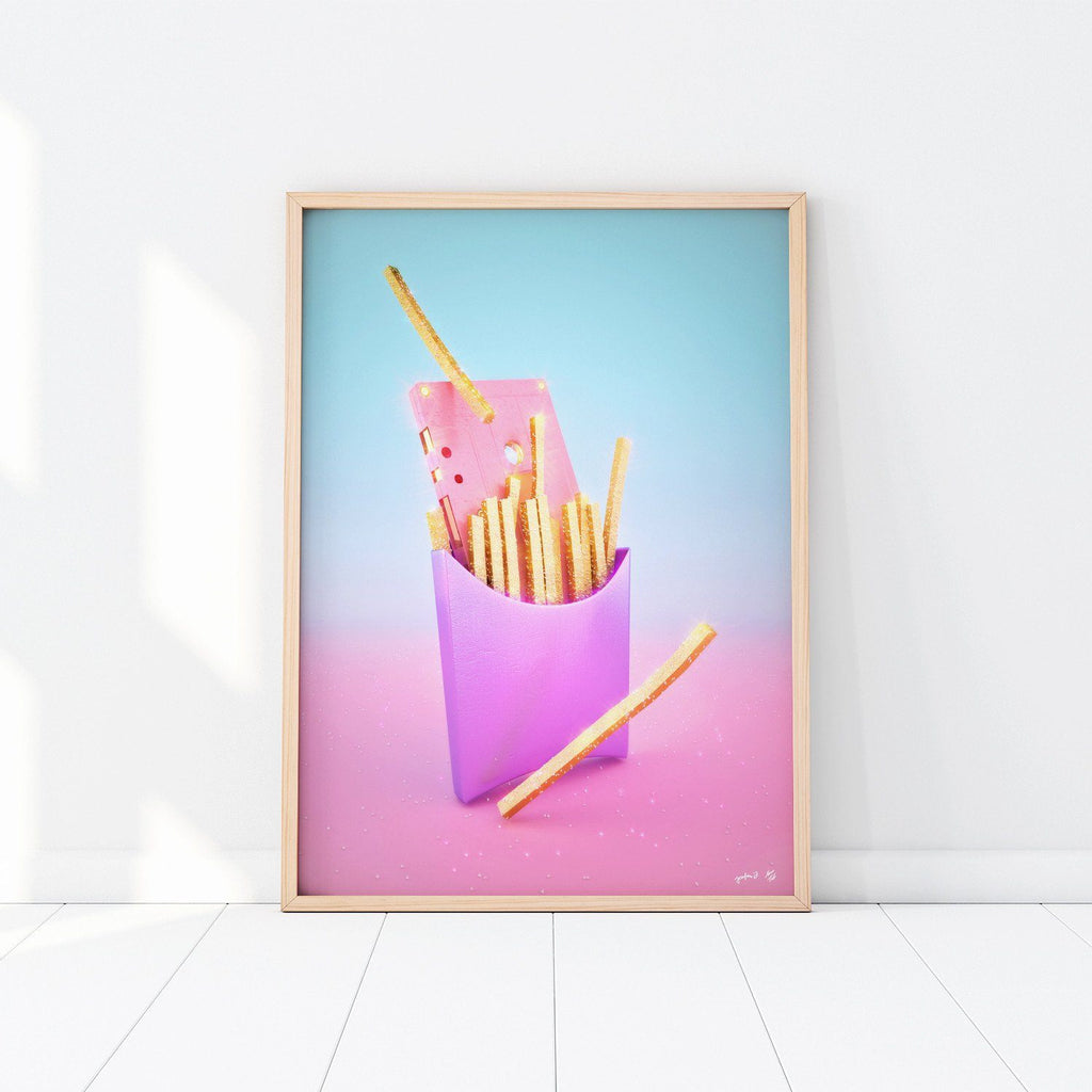 """Fries with Cassette"" Art Print by Pastelae"