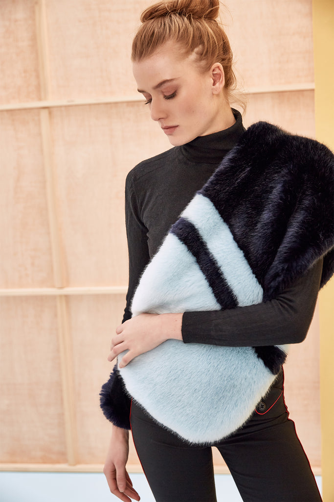 CARA - Navy Blue and Sky Blue Faux Fur Scarf