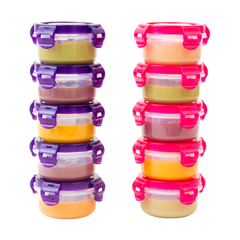 Elacra Baby Food Storage Freezer Containers BPA-Free Airtight Small Plastic Set of 10-3.4 Ounce Pink and Purple
