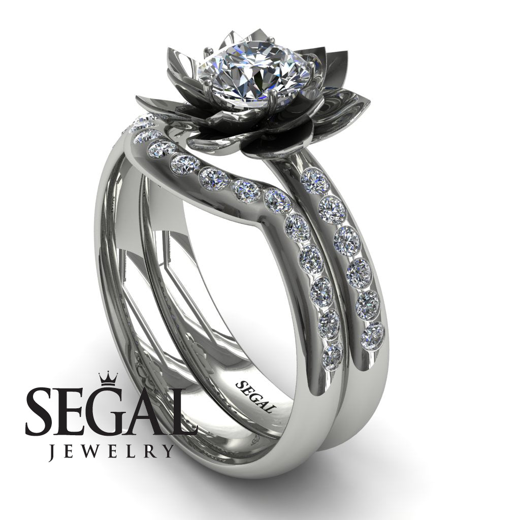 Lotus Flower Bridal Set Diamond ring - Lotus no. 3