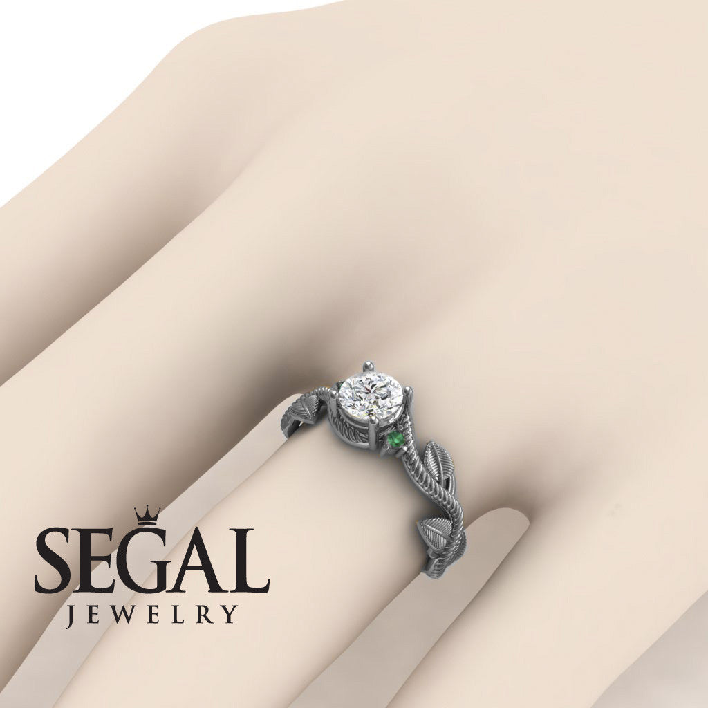 Designer Leaf Engagement Ring - Allison no. 21