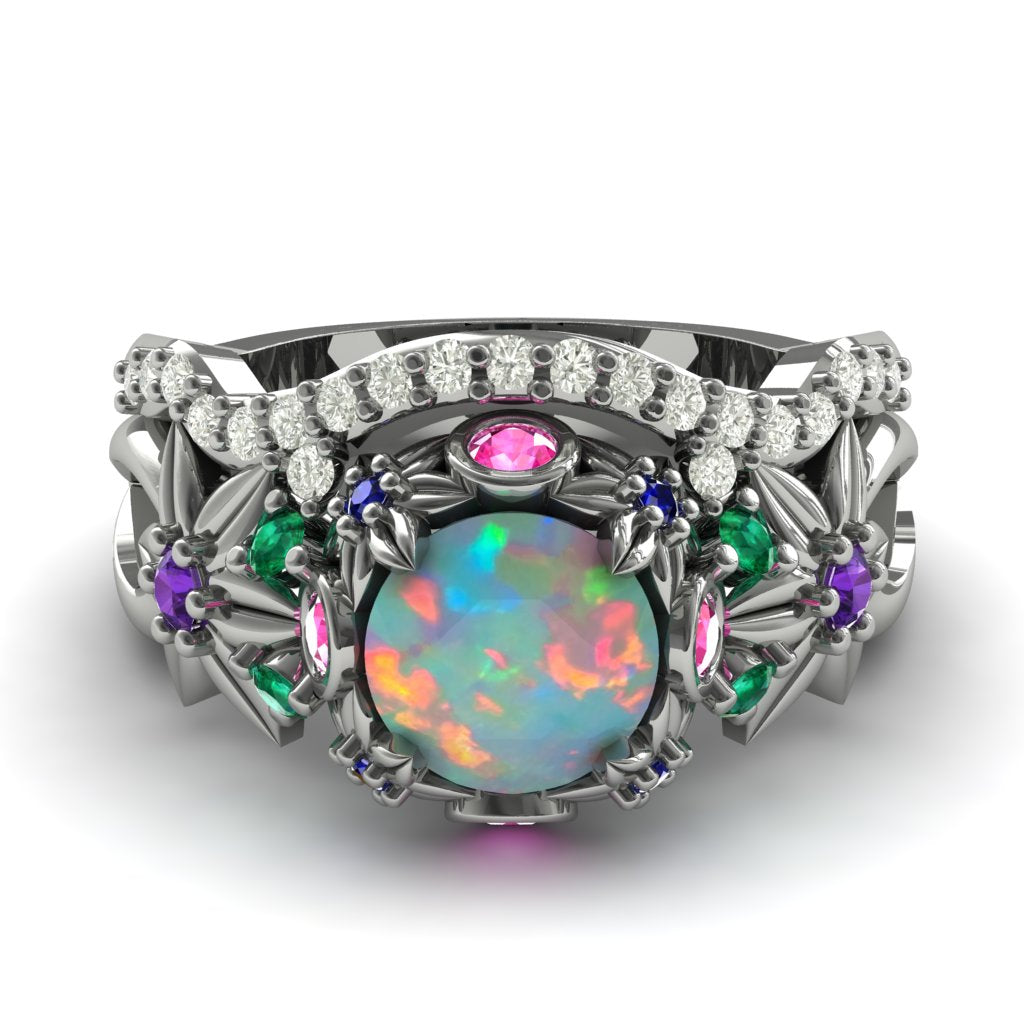 Kristi Custom Order Opal Flowers And Branches Bridal Set Diamond Ring - Katherine no. 3 Opal