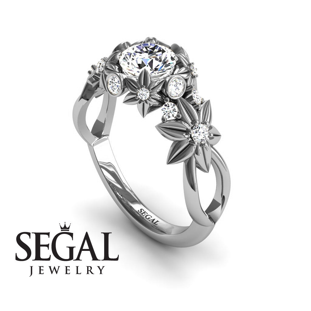 Nature Inspired Flower Engagement Ring - Katherine no. 3