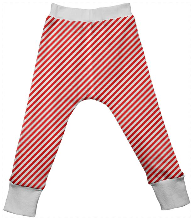 Red White Small Stripe Drop Pant