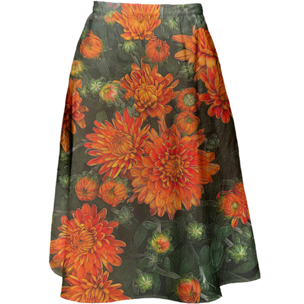 Orange Fall Mums Midi Skirt