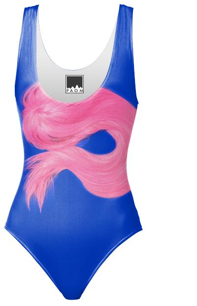 PINK WIG ON BLUE SWIMSUIT
