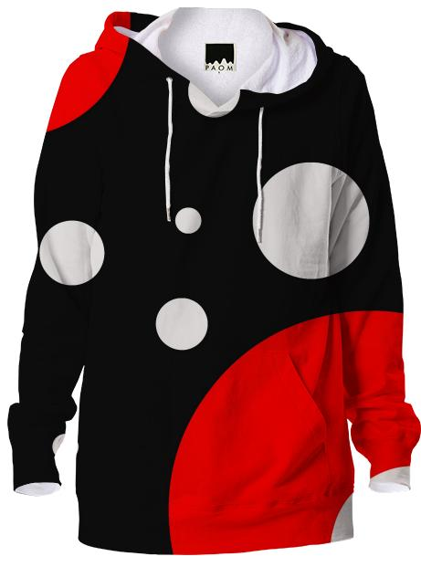 Red Black Polka dot Alloverprint Hoodie