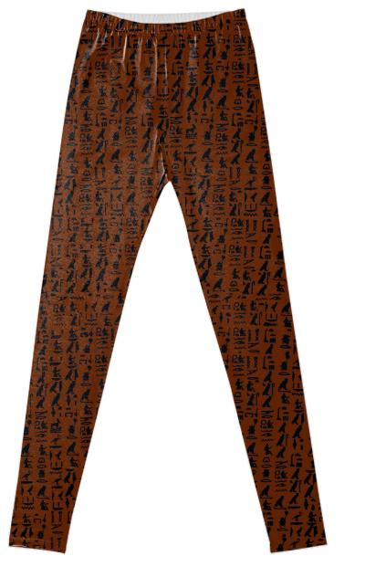 Hieroglyph Leggings In canyon brown by muffy brandt