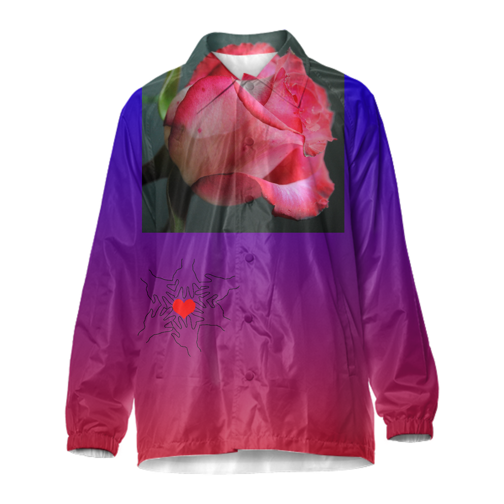 Red and Pink Rose Coach Jacket