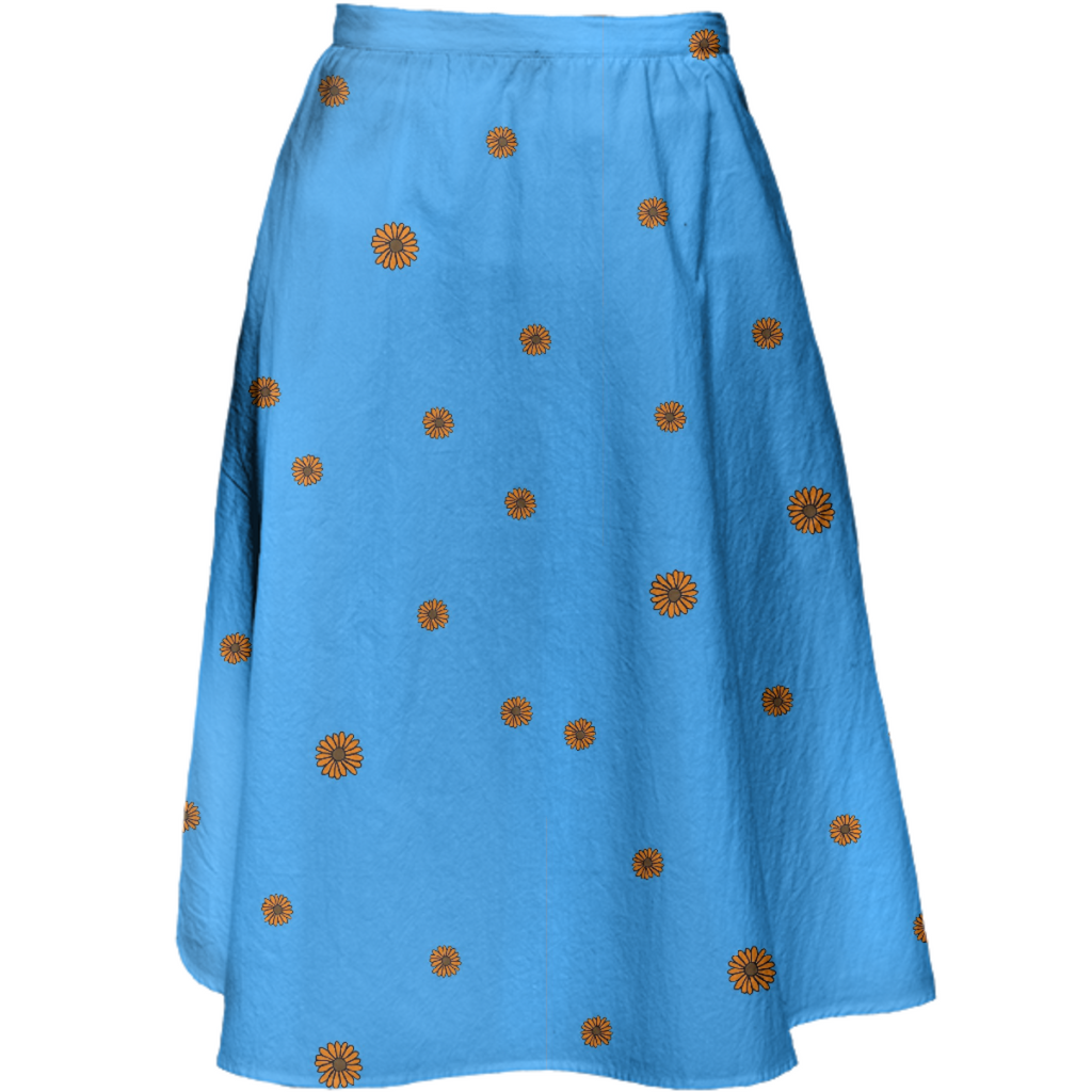 sunflowers on blue skirt