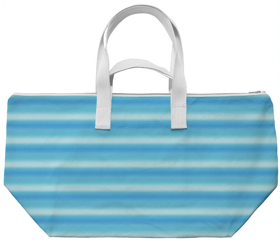Blue Ombre Striped Weekend Bag