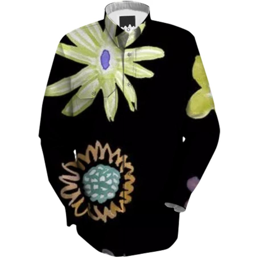 Black Flower Selby Painting Top