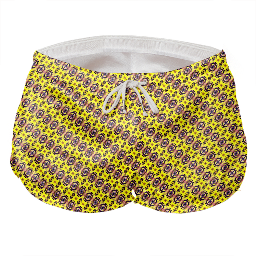 yellow ikat diaganol shorts