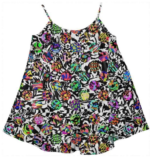 Kid s tent dress in dots on warped checkers