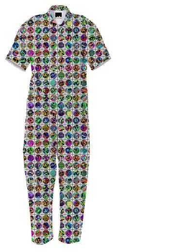 JUMPSUIT IN DOTS AND GRID