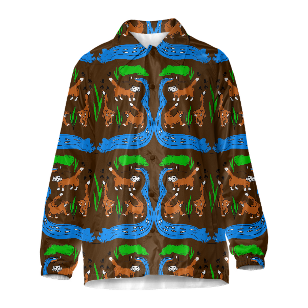 Foxes Pattern Coach Jacket