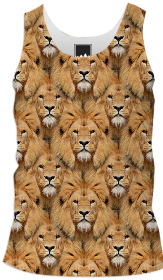 Lion Face Pattern Men s Tank