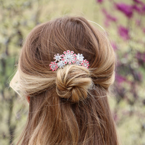 Pink Crystal Floral Hair Comb