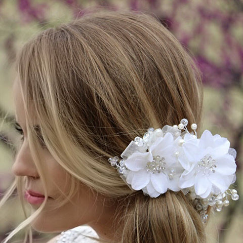 Floral, Crystal and Pearl Hair Accessory