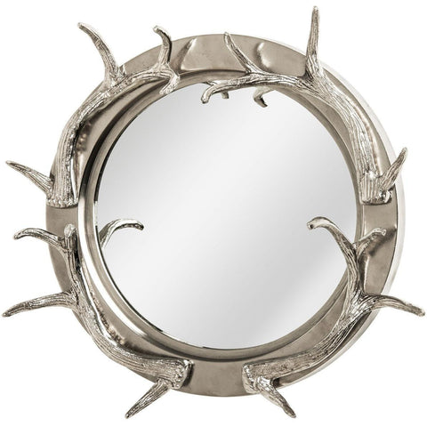 Antler Nickel Wall Mirror 100cm-Mirrors-Retail Therapy Interiors