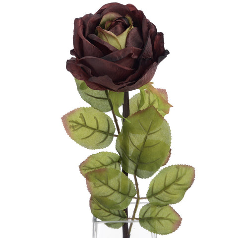 Autumn Dark Crimson Single Rose Stem-Accessories-Retail Therapy Interiors
