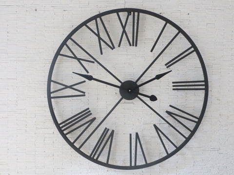 Black Metal Skeleton Wall Clock 90cms-Clocks-Retail Therapy Interiors