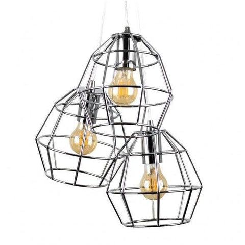Caged Basket 3 Way Pendant Chrome-Lighting-Retail Therapy Interiors