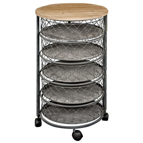 Circular Wood & Metal 5 Shelf Cylinder Storage Drawers 80cm-Furniture-Retail Therapy Interiors