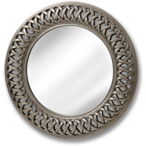 Entwined Lattice Round Silver Mirror 112cms-Mirrors-Retail Therapy Interiors