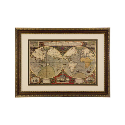 Framed World Map Wall Art-Wall Art-Retail Therapy Interiors