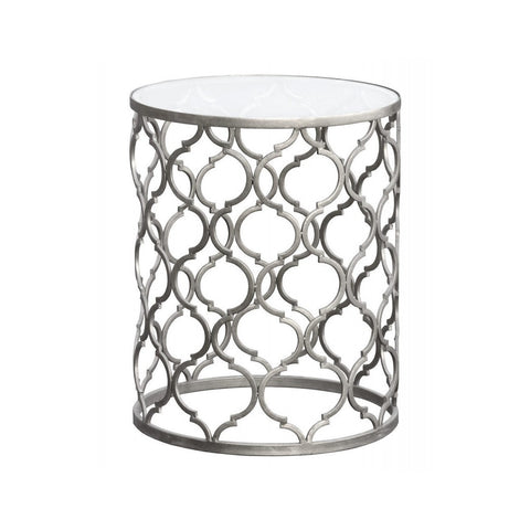 Gin Shu Parisienne Round Metal Side Table Silver-Furniture-Retail Therapy Interiors