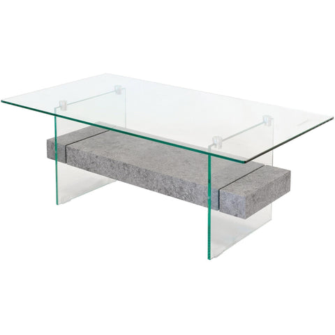 Glass Coffee Table with Concrete Style Shelf-Furniture-Retail Therapy Interiors
