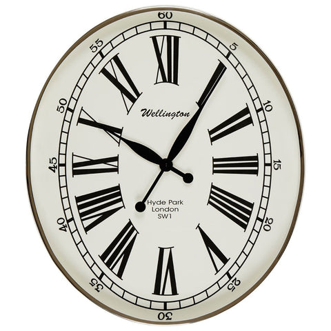 Hampstead Oval Wall Clock-Clocks-Retail Therapy Interiors
