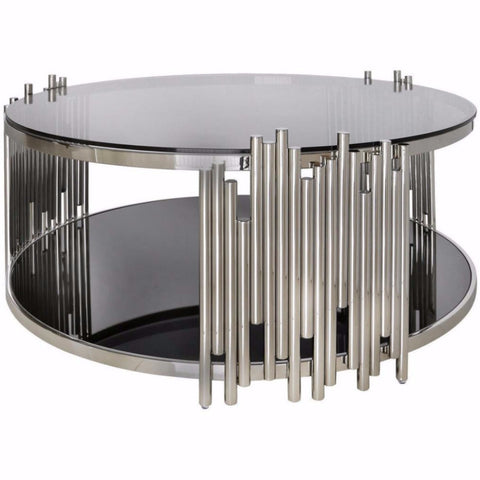 Metal & Glass Pipe Round Coffee Table-Furniture-Retail Therapy Interiors