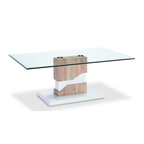 Milton Glass Coffee Table White & Natural-Furniture-Retail Therapy Interiors