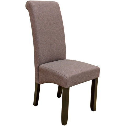 Scroll Back Dining Chair Brown-Furniture-Retail Therapy Interiors