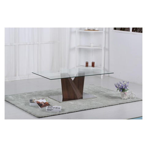Socorro Glass Coffee Table Walnut-Furniture-Retail Therapy Interiors