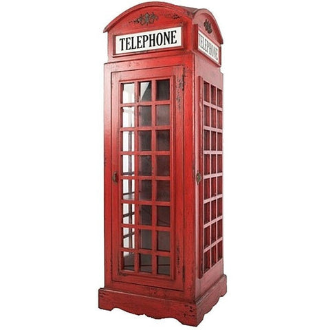 "Vintage Red Telephone Box - Storage Unit 5ft 6""-Furniture-Retail Therapy Interiors"