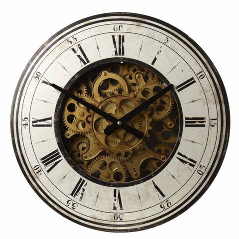 Wooden Clock With Gears-Clocks-Retail Therapy Interiors