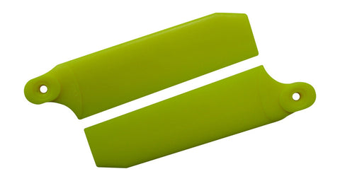 72.5mm W/ 5mm Root Neon Yellow Extreme Edition Tail Rotor Blades - 500 Size #4035