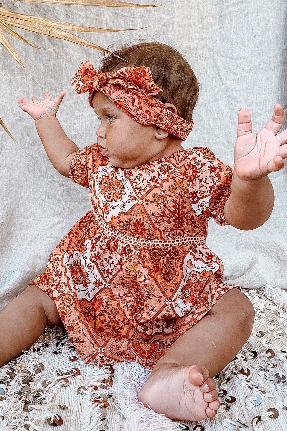 Zephyr Baby Dress in Rhubarb