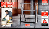 2Pc Saw Horse Height Adjustable Folding Stand