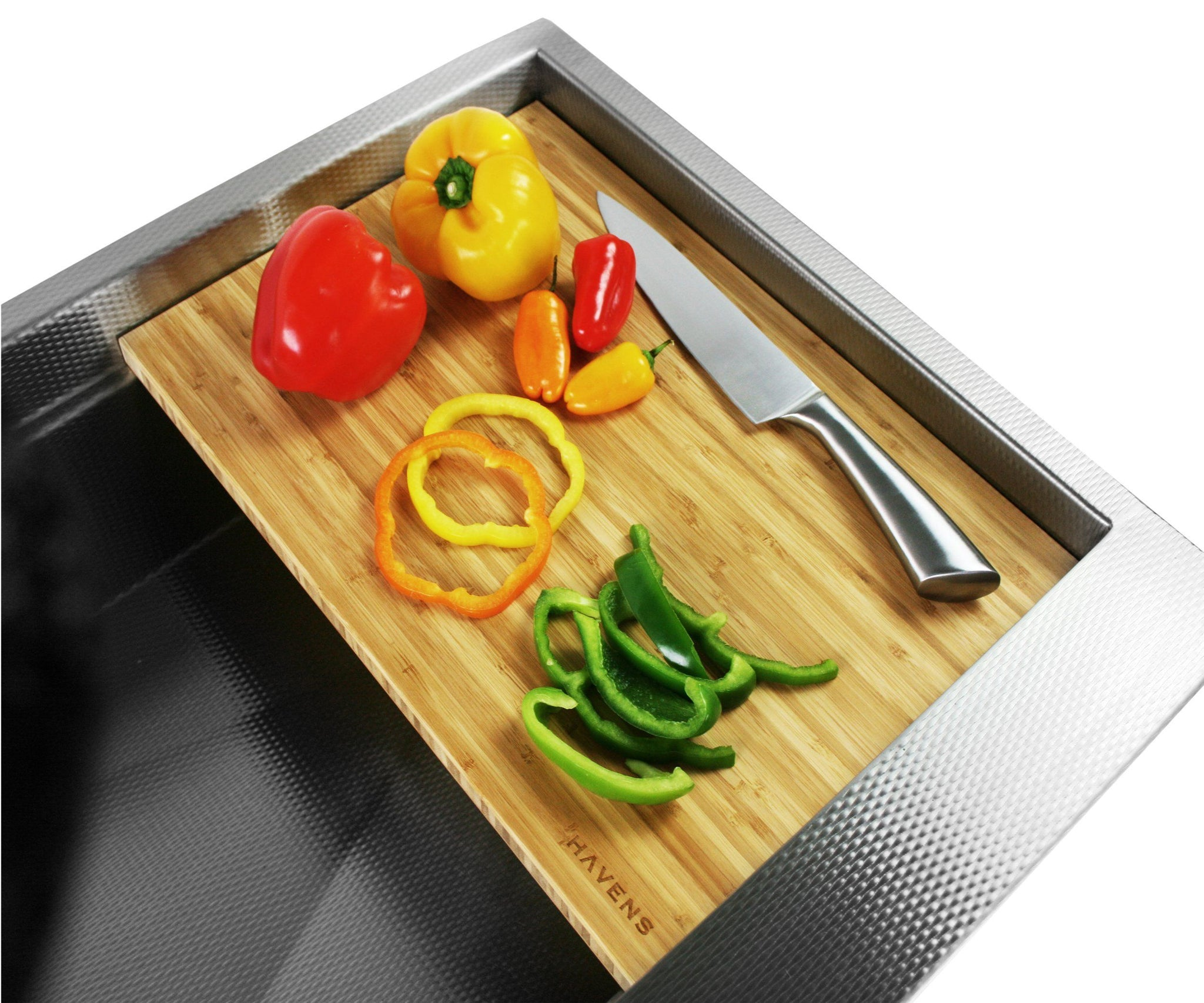 Sliding cutting board for Havens stainless sink