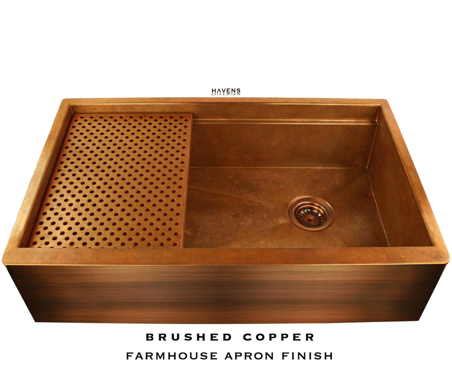 Legacy Farmhouse Sink - Brushed Copper Apron