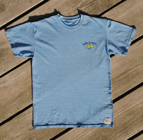 Lake is Good Light Teal Blue with Fish - Men's Short Sleeve