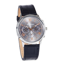 Round Silver Face with Black Leather Strap Watch