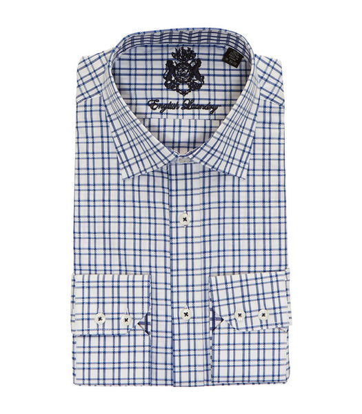 BLUE PLAID BUTTON DOWN DRESS SHIRT