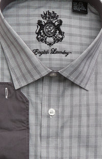 English Laundry Men's Gray and Black Plaid Dress Shirt