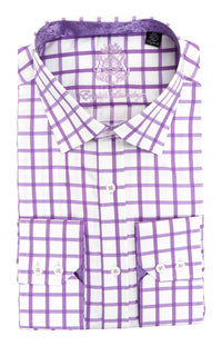 English Laundry Purple Checked Long Sleeve Dress Shirt