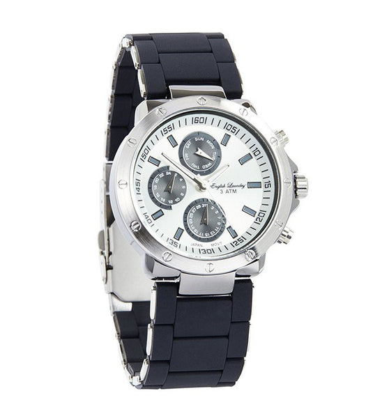 Round Gunmetal Face with Black Rubber Strap Watch